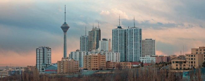 Skyline of Tehran with Milad Tower among high rise buildings