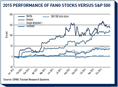 2015 performance of fang stocks versus sp 500