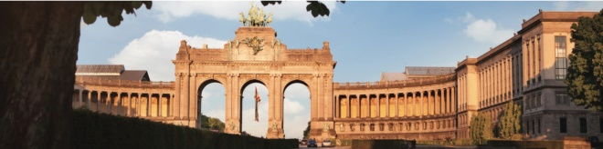 the triumphal arch in cinquantennaire parc in brussels