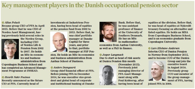 Key management players in the Danish occupational pension sector