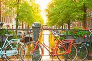 Bikes on a bridge in Amsterdam