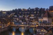Night view of Bern and Aare River, Switzerland