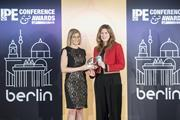 Fiona Miller receives her IPE award in Berlin