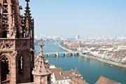 Basel, Switzerland with Rhine and Middle Bridge