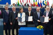 European Parliament Paris Agreement signing ceremony