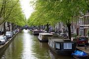 House boats in Amsterdam, Netherlands