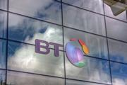 BT logo outside its office in Sevenoaks, UK