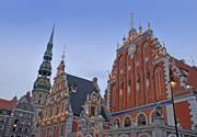 Facade and environment of St Peter's church in Riga Latvia