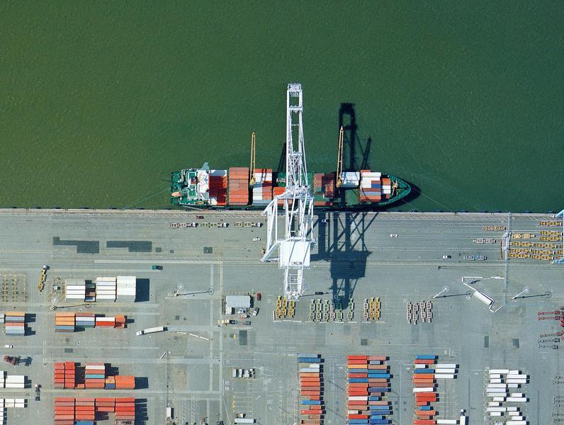 Ship loading cargo