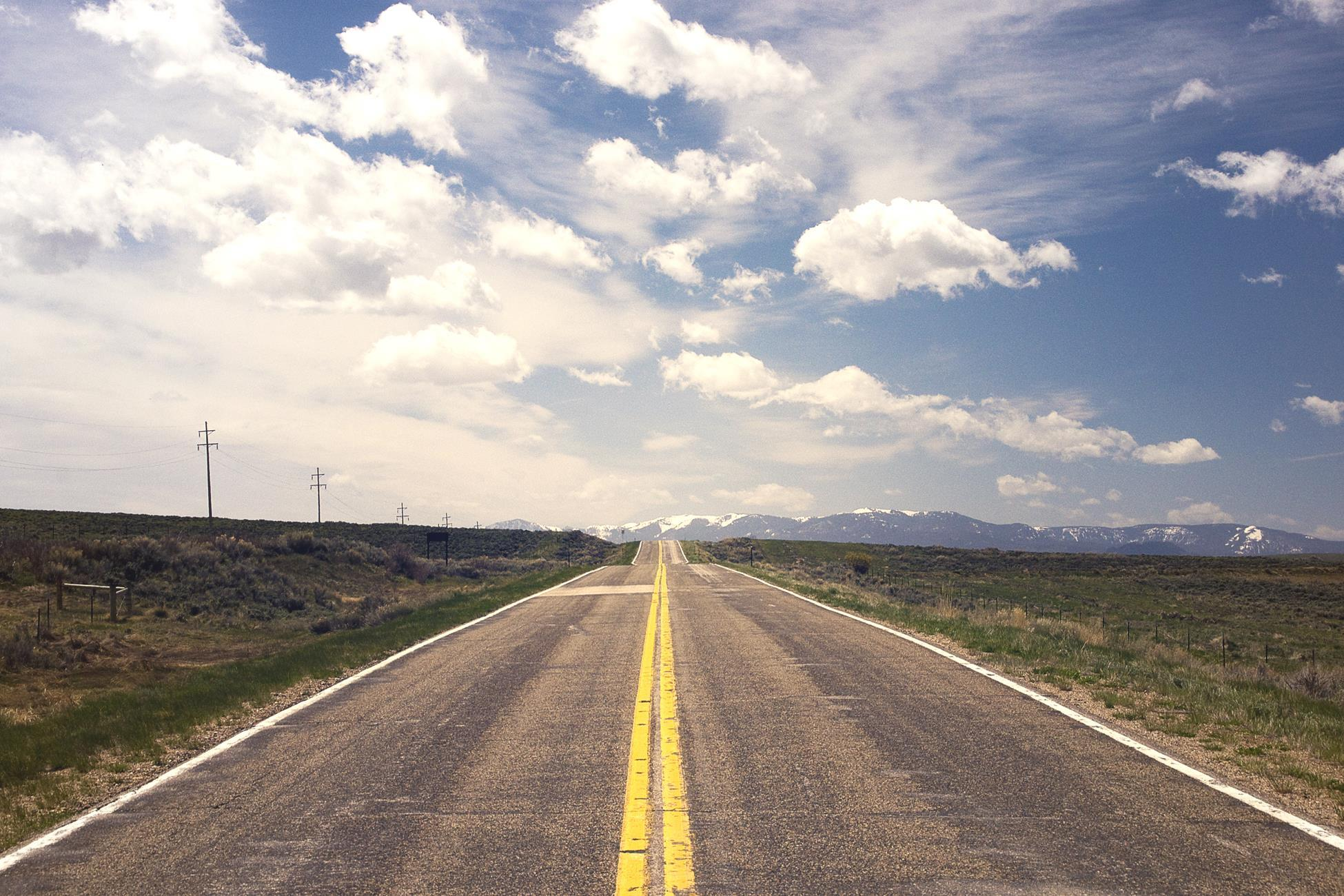 Road sky clouds horizon long-term distance