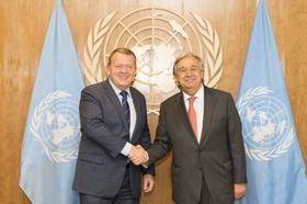 Secretary-General António Guterres (left) meets Danish prime minister Lars Løkke Rasmussen at the UN General Assembly