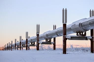 An oil pipeline in Alaska