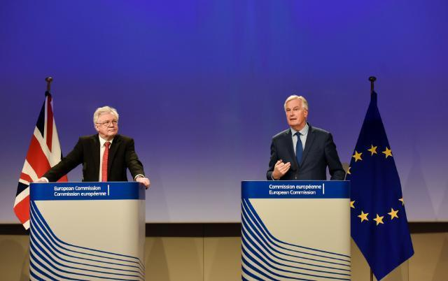 David Davis and Michel Barnier at a Brexit press conference in October 2017