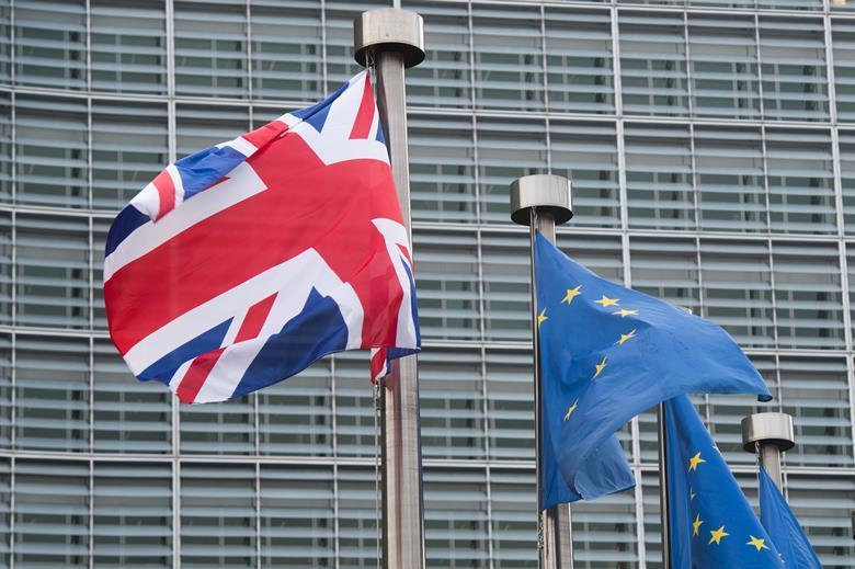 UK, EU flags