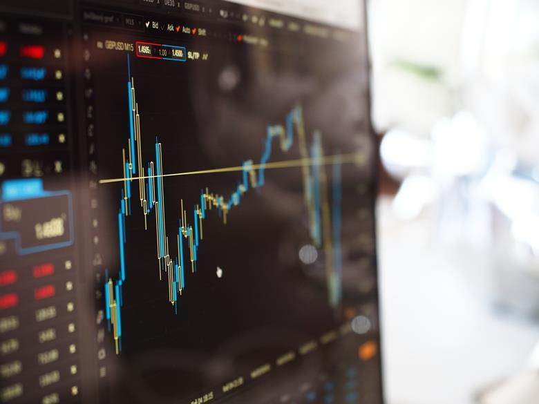 Stock price on monitor